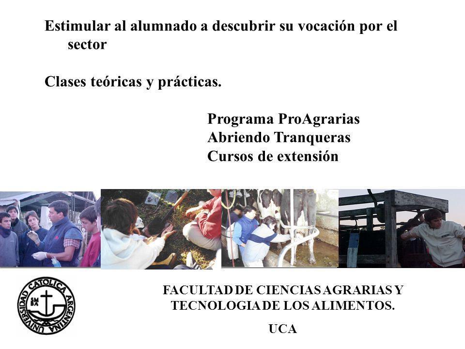 FACULTAD DE CIENCIAS AGRARIAS Y TECNOLOGIA DE LOS ALIMENTOS. UCA Estimular al alumnado a descubrir su vocación por el sector Clases teóricas y práctic