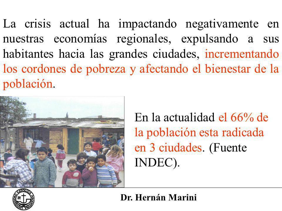 Dr. Hernán Marini La crisis actual ha impactando negativamente en nuestras economías regionales, expulsando a sus habitantes hacia las grandes ciudade