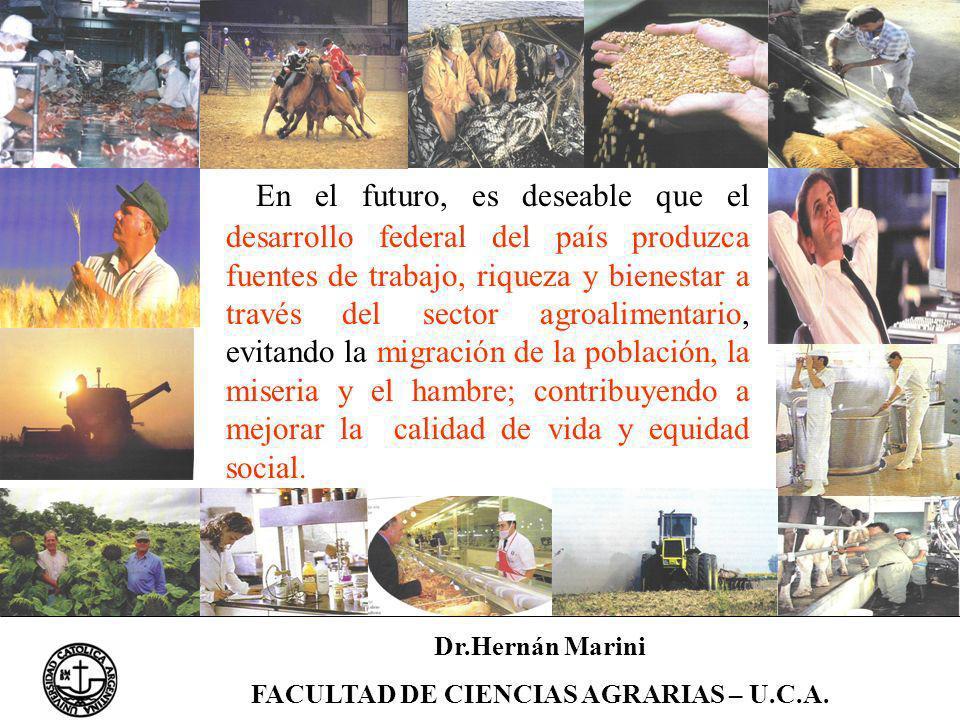 Dr.Hernán Marini FACULTAD DE CIENCIAS AGRARIAS – U.C.A. En el futuro, es deseable que el desarrollo federal del país produzca fuentes de trabajo, riqu