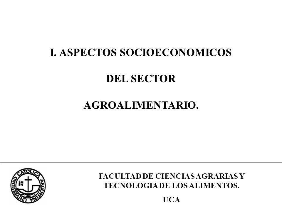 FACULTAD DE CIENCIAS AGRARIAS Y TECNOLOGIA DE LOS ALIMENTOS. UCA I. ASPECTOS SOCIOECONOMICOS DEL SECTOR AGROALIMENTARIO.