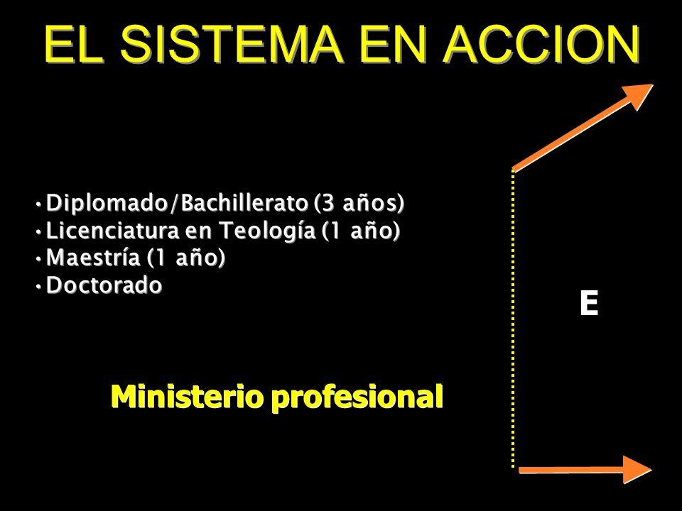 E Ministerio profesional EL SISTEMA EN ACCION Diplomado/Bachillerato (3 años) Licenciatura en Teología (1 año) Maestría (1 año) Doctorado Diplomado/Ba