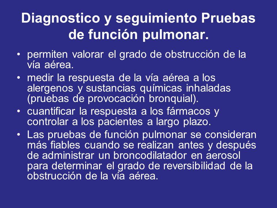 Diagnostico y seguimiento Pruebas de función pulmonar. permiten valorar el grado de obstrucción de la vía aérea. medir la respuesta de la vía aérea a