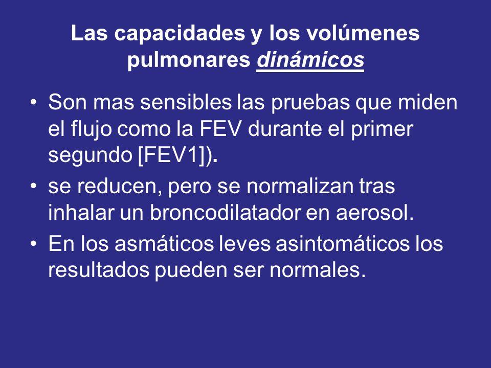 Las capacidades y los volúmenes pulmonares dinámicos Son mas sensibles las pruebas que miden el flujo como la FEV durante el primer segundo [FEV1]). s