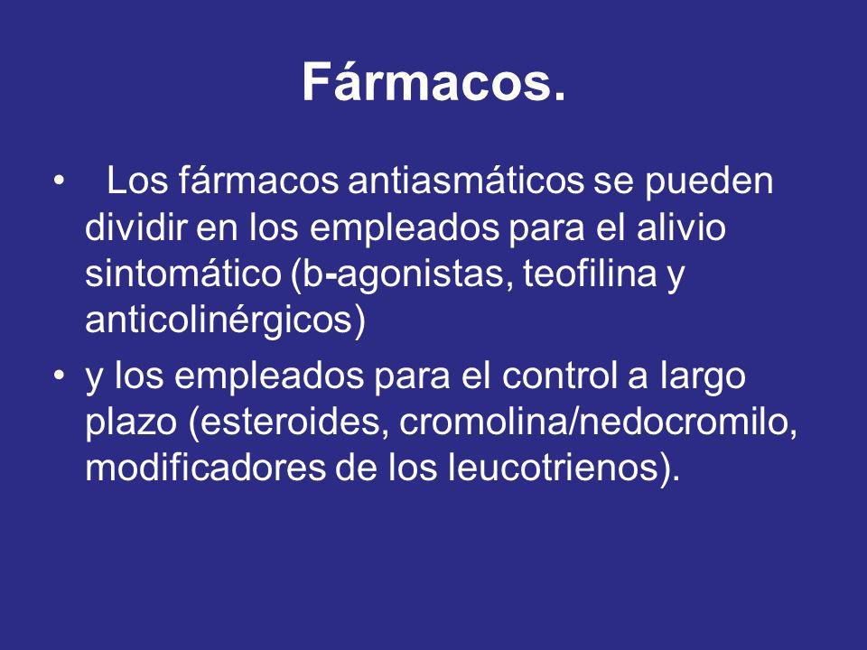 Fármacos. Los fármacos antiasmáticos se pueden dividir en los empleados para el alivio sintomático (b-agonistas, teofilina y anticolinérgicos) y los e