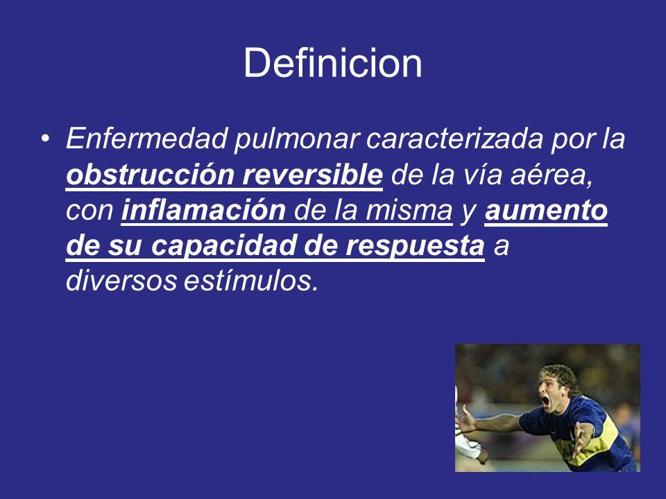 Definicion Enfermedad pulmonar caracterizada por la obstrucción reversible de la vía aérea, con inflamación de la misma y aumento de su capacidad de r