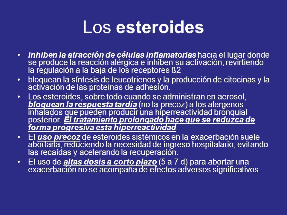 Los esteroides inhiben la atracción de células inflamatorias hacia el lugar donde se produce la reacción alérgica e inhiben su activación, revirtiendo