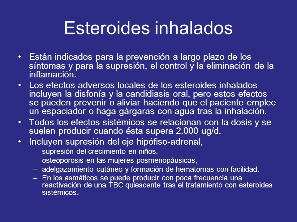 Esteroides inhalados Están indicados para la prevención a largo plazo de los síntomas y para la supresión, el control y la eliminación de la inflamaci