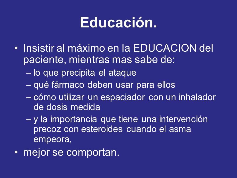 Educación. Insistir al máximo en la EDUCACION del paciente, mientras mas sabe de: –lo que precipita el ataque –qué fármaco deben usar para ellos –cómo