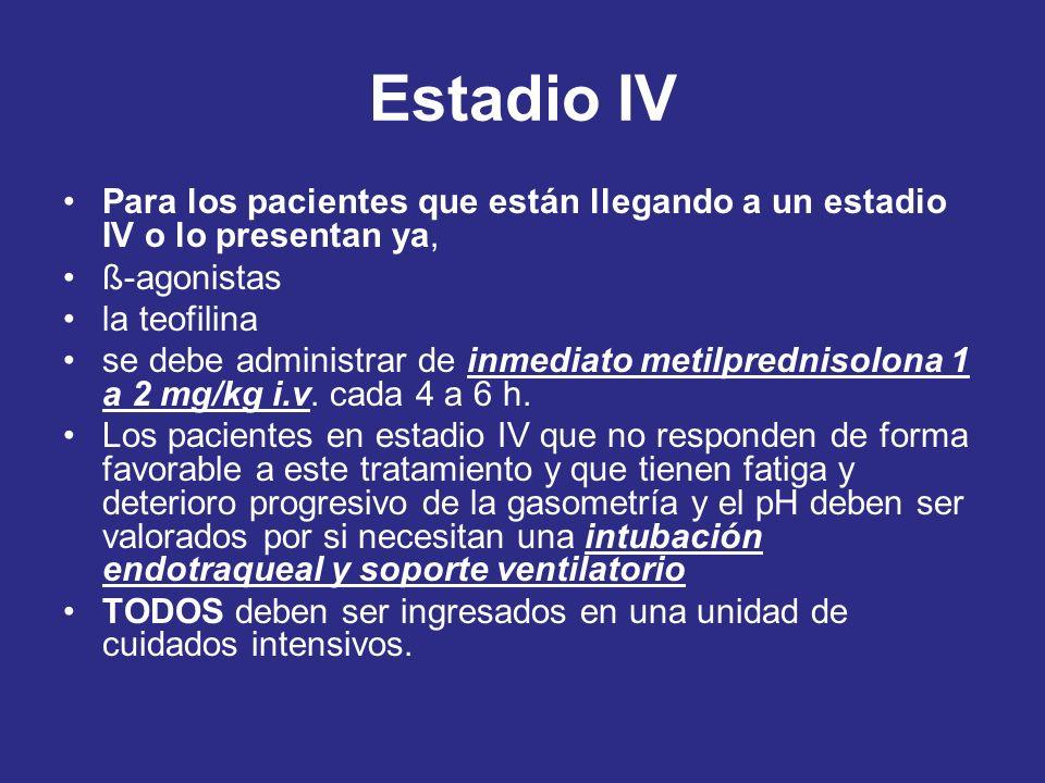 Estadio IV Para los pacientes que están llegando a un estadio IV o lo presentan ya, ß-agonistas la teofilina se debe administrar de inmediato metilpre