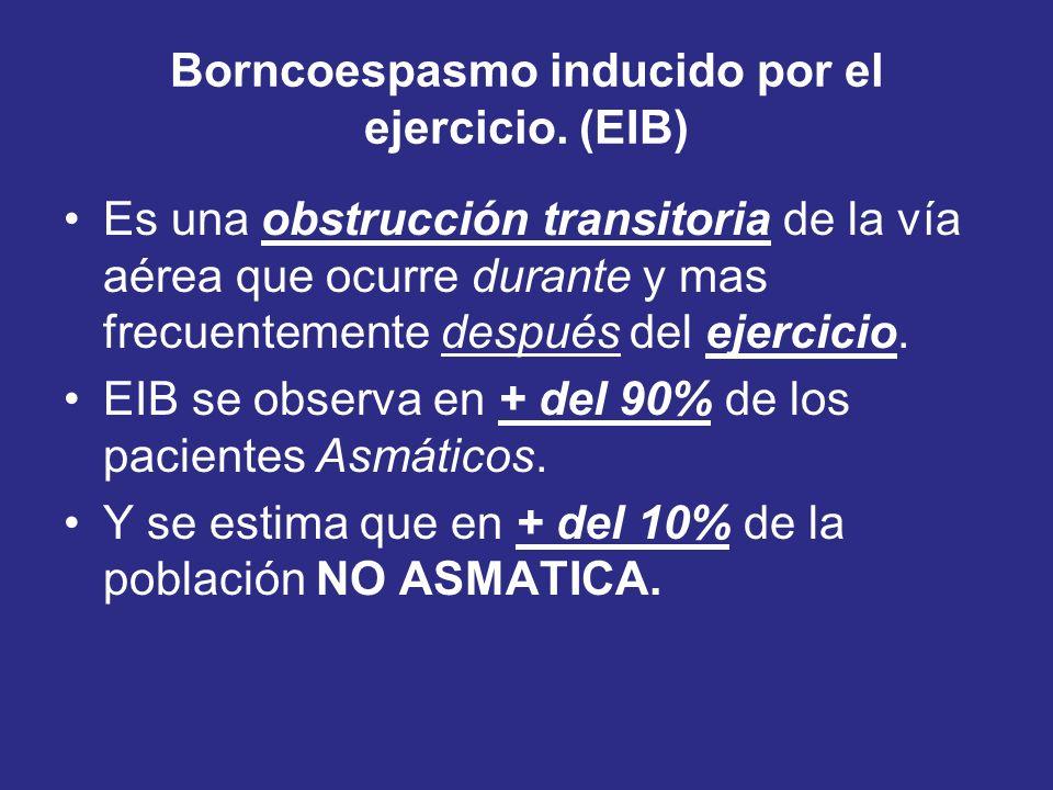 Borncoespasmo inducido por el ejercicio. (EIB) Es una obstrucción transitoria de la vía aérea que ocurre durante y mas frecuentemente después del ejer