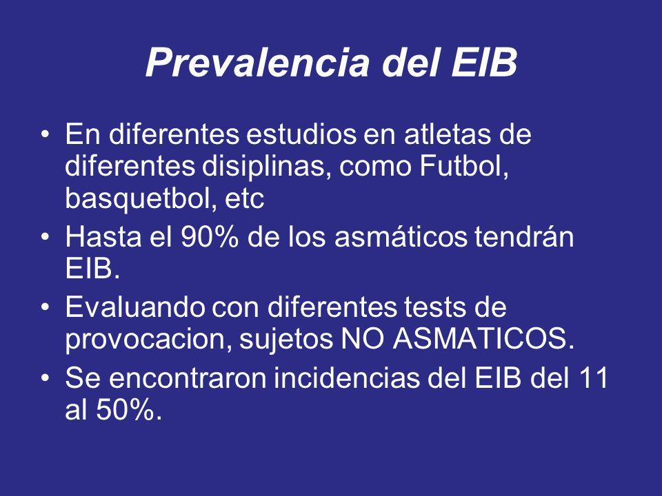 Prevalencia del EIB En diferentes estudios en atletas de diferentes disiplinas, como Futbol, basquetbol, etc Hasta el 90% de los asmáticos tendrán EIB