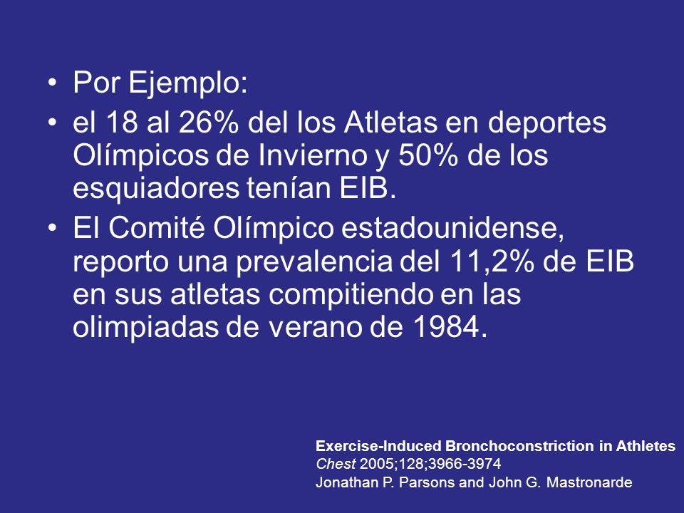 Por Ejemplo: el 18 al 26% del los Atletas en deportes Olímpicos de Invierno y 50% de los esquiadores tenían EIB. El Comité Olímpico estadounidense, re