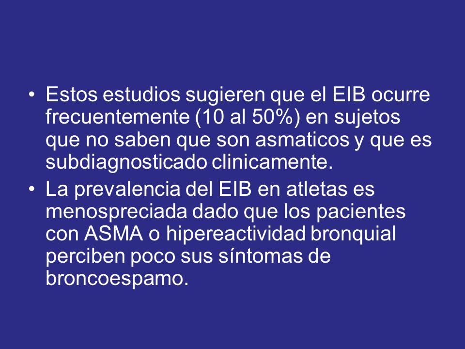 Estos estudios sugieren que el EIB ocurre frecuentemente (10 al 50%) en sujetos que no saben que son asmaticos y que es subdiagnosticado clinicamente.