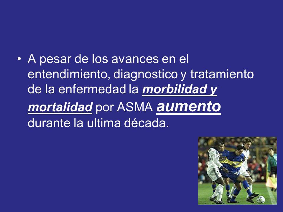 A pesar de los avances en el entendimiento, diagnostico y tratamiento de la enfermedad la morbilidad y mortalidad por ASMA aumento durante la ultima d