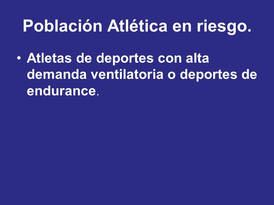 Población Atlética en riesgo. Atletas de deportes con alta demanda ventilatoria o deportes de endurance.