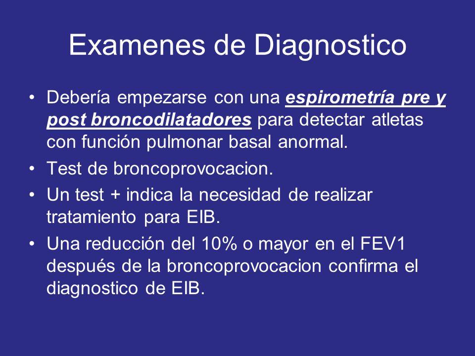 Examenes de Diagnostico Debería empezarse con una espirometría pre y post broncodilatadores para detectar atletas con función pulmonar basal anormal.