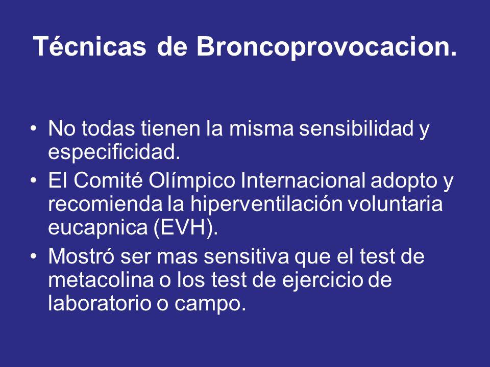 Técnicas de Broncoprovocacion. No todas tienen la misma sensibilidad y especificidad. El Comité Olímpico Internacional adopto y recomienda la hiperven
