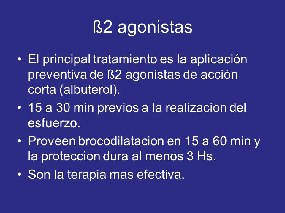 ß2 agonistas El principal tratamiento es la aplicación preventiva de ß2 agonistas de acción corta (albuterol). 15 a 30 min previos a la realizacion de