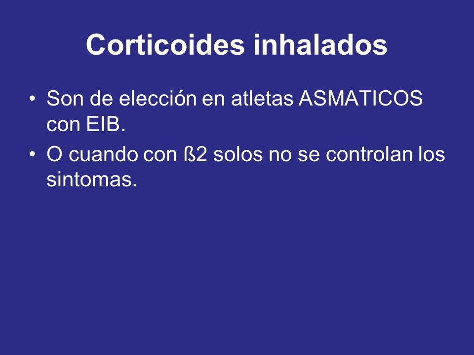 Corticoides inhalados Son de elección en atletas ASMATICOS con EIB. O cuando con ß2 solos no se controlan los sintomas.