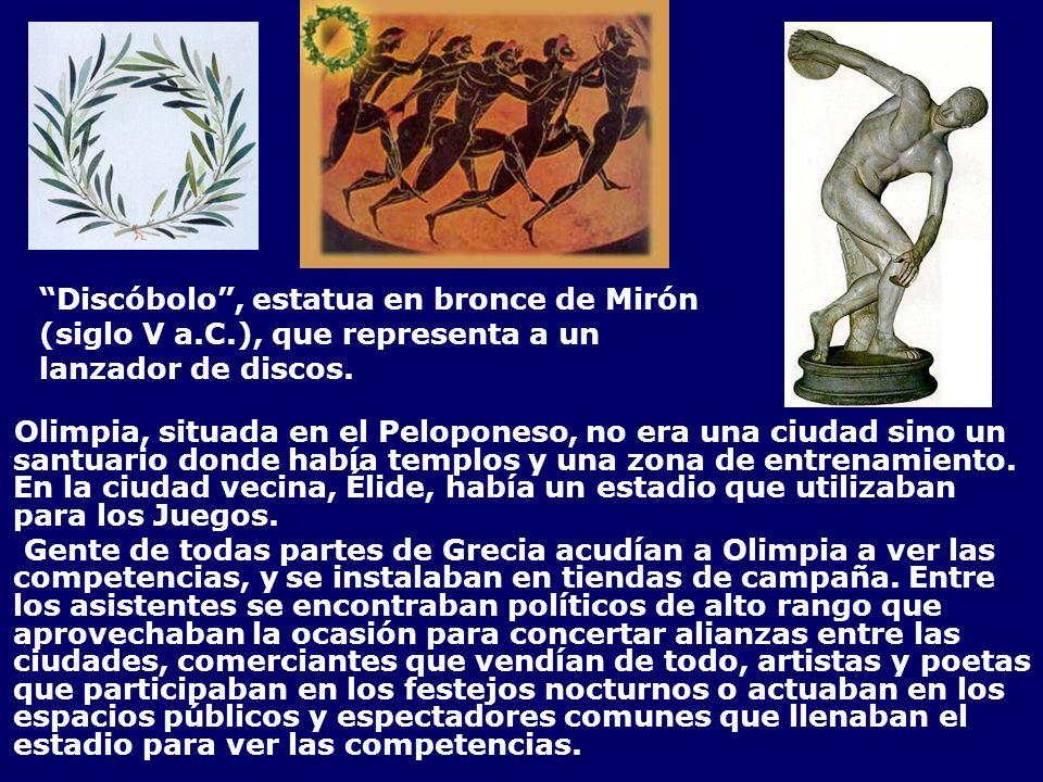 Discóbolo, estatua en bronce de Mirón (siglo V a.C.), que representa a un lanzador de discos. Olimpia, situada en el Peloponeso, no era una ciudad sin