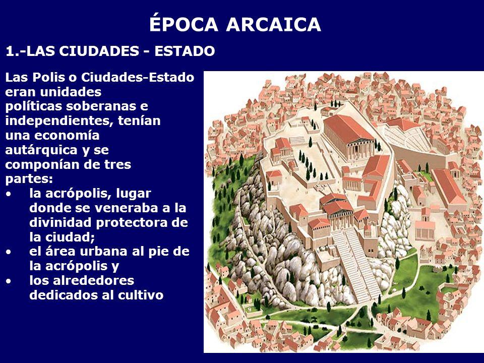 ÉPOCA ARCAICA 1.-LAS CIUDADES - ESTADO Las Polis o Ciudades-Estado eran unidades políticas soberanas e independientes, tenían una economía autárquica