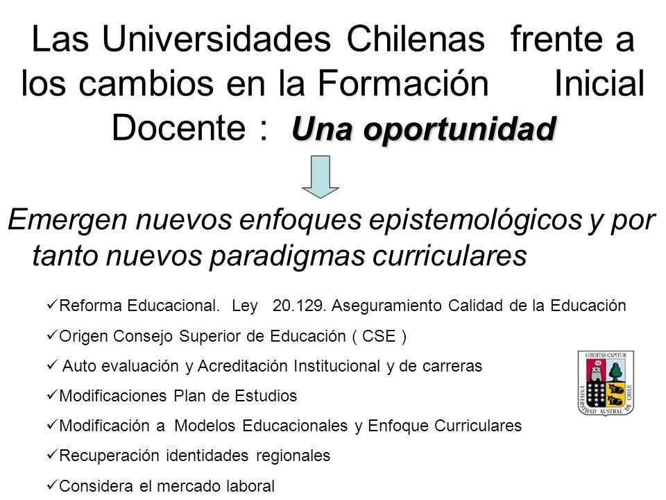 Una oportunidad Las Universidades Chilenas frente a los cambios en la Formación Inicial Docente : Una oportunidad Emergen nuevos enfoques epistemológi