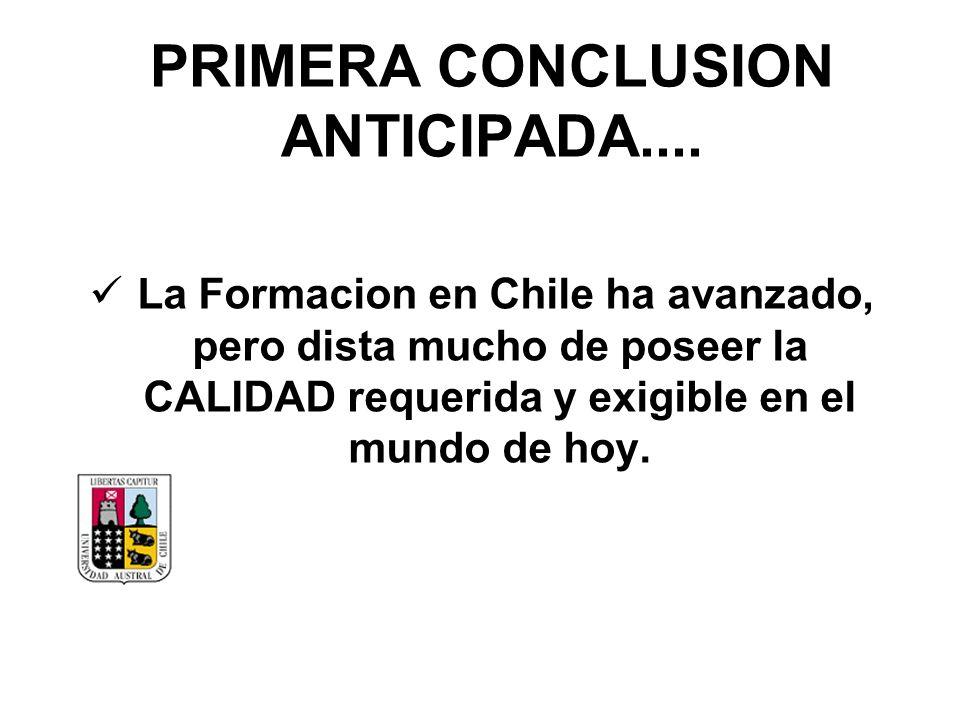PRIMERA CONCLUSION ANTICIPADA.... La Formacion en Chile ha avanzado, pero dista mucho de poseer la CALIDAD requerida y exigible en el mundo de hoy.