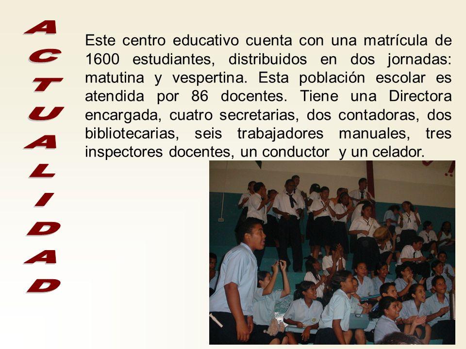 Magíster Rodolfo García Vega Este centro educativo cuenta con una matrícula de 1600 estudiantes, distribuidos en dos jornadas: matutina y vespertina.