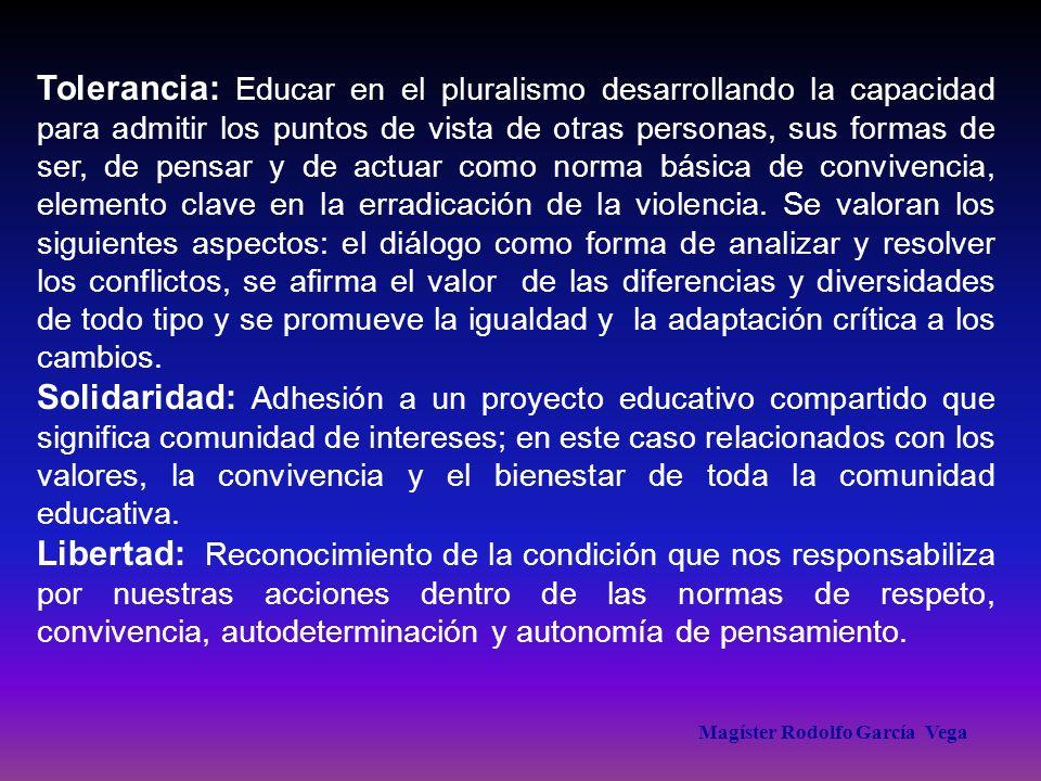 Magíster Rodolfo García Vega Tolerancia: Educar en el pluralismo desarrollando la capacidad para admitir los puntos de vista de otras personas, sus fo
