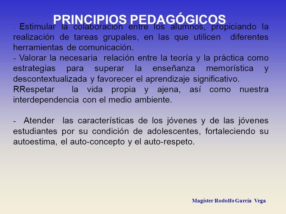 Magíster Rodolfo García Vega - Estimular la colaboración entre los alumnos, propiciando la realización de tareas grupales, en las que utilicen diferen