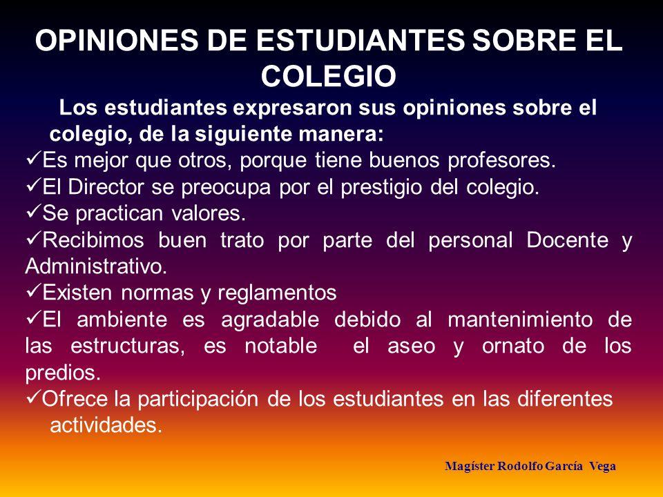 Magíster Rodolfo García Vega OPINIONES DE ESTUDIANTES SOBRE EL COLEGIO Los estudiantes expresaron sus opiniones sobre el colegio, de la siguiente mane