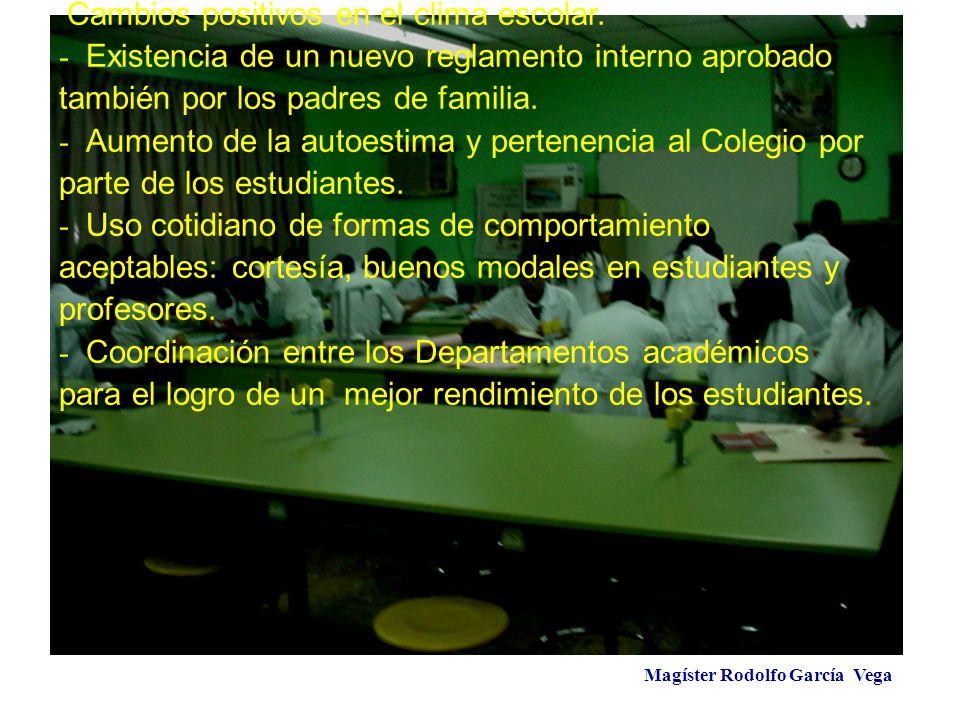Magíster Rodolfo García Vega Cambios positivos en el clima escolar. - Existencia de un nuevo reglamento interno aprobado también por los padres de fam