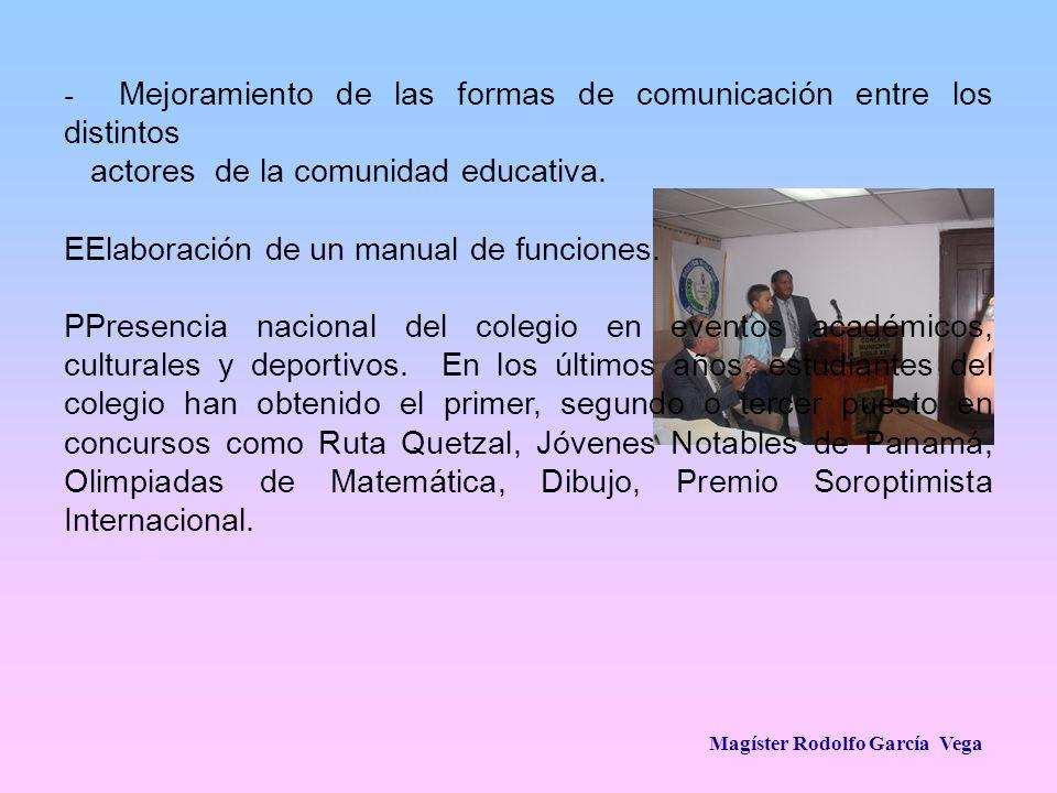 Magíster Rodolfo García Vega - Mejoramiento de las formas de comunicación entre los distintos actores de la comunidad educativa. EElaboración de un ma