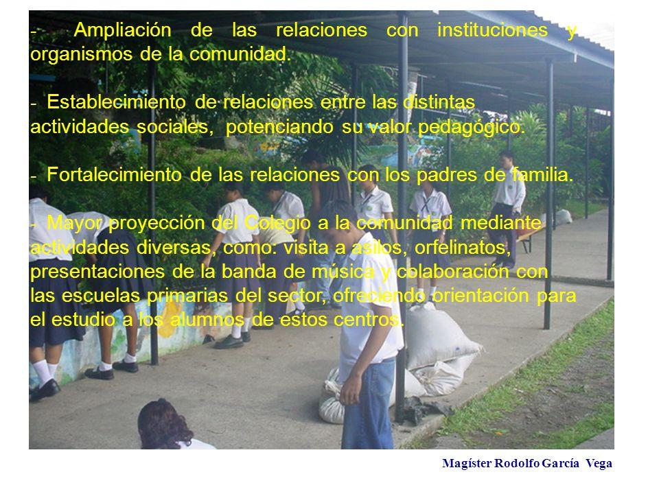 Magíster Rodolfo García Vega - Ampliación de las relaciones con instituciones y organismos de la comunidad. - Establecimiento de relaciones entre las