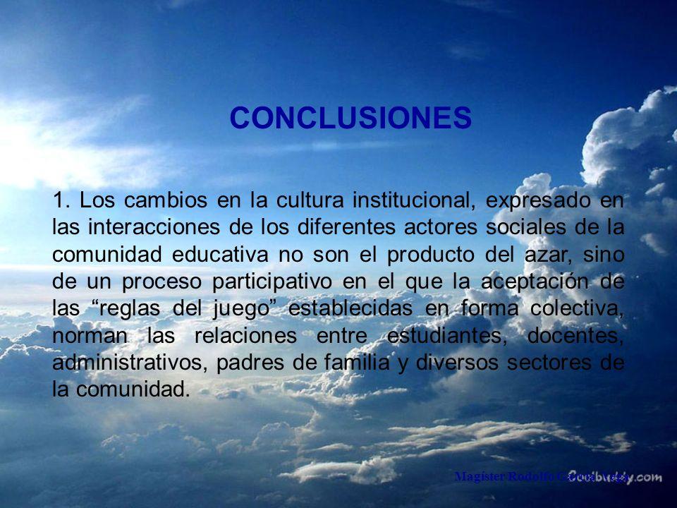 Magíster Rodolfo García Vega CONCLUSIONES 1. Los cambios en la cultura institucional, expresado en las interacciones de los diferentes actores sociale