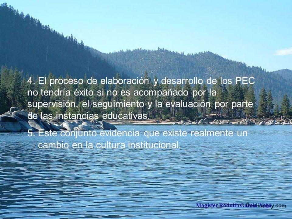 Magíster Rodolfo García Vega 4. El proceso de elaboración y desarrollo de los PEC no tendría éxito si no es acompañado por la supervisión, el seguimie