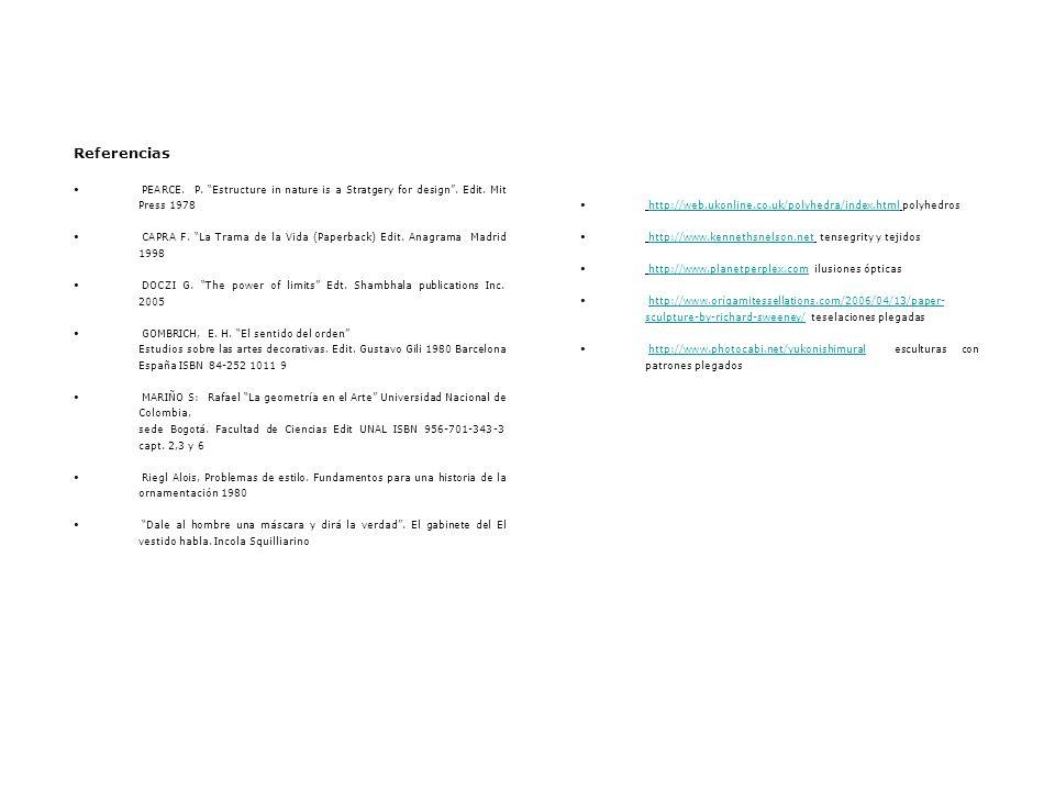 Referencias PEARCE. P. Estructure in nature is a Stratgery for design. Edit. Mit Press 1978 CAPRA F. La Trama de la Vida (Paperback) Edit. Anagrama Ma
