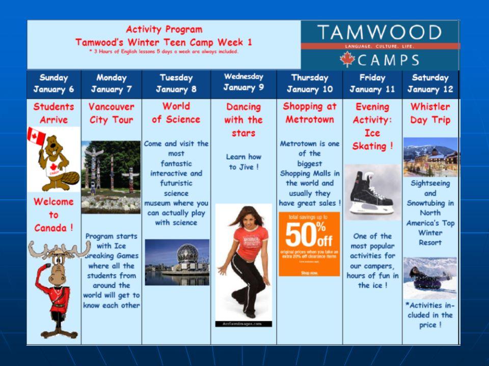 Tamwood ha recibido hasta el momento alumnos de 60 países y el ambiente internacional es óptimo. Los estudiantes deben hablar en inglés todo el tiempo