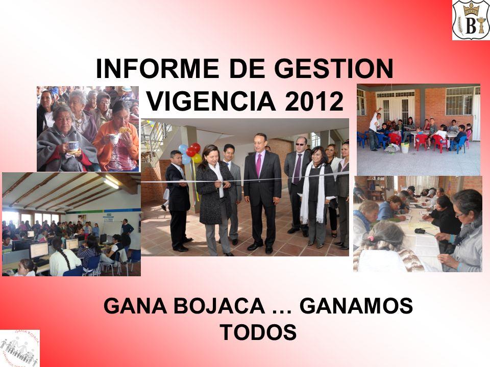 INFORME DE GESTION VIGENCIA 2012 GANA BOJACA … GANAMOS TODOS