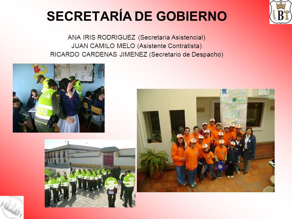 SECRETARÍA DE GOBIERNO ANA IRIS RODRIGUEZ (Secretaria Asistencial) JUAN CAMILO MELO (Asistente Contratista) RICARDO CARDENAS JIMENEZ (Secretario de De