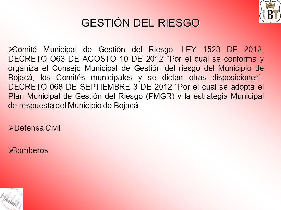 GESTIÓN DEL RIESGO Comité Municipal de Gestión del Riesgo. LEY 1523 DE 2012, DECRETO O63 DE AGOSTO 10 DE 2012 Por el cual se conforma y organiza el Co