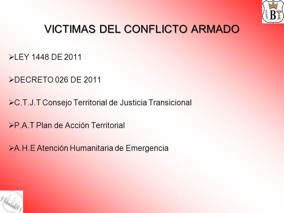 VICTIMAS DEL CONFLICTO ARMADO LEY 1448 DE 2011 DECRETO 026 DE 2011 C.T.J.T Consejo Territorial de Justicia Transicional P.A.T Plan de Acción Territori