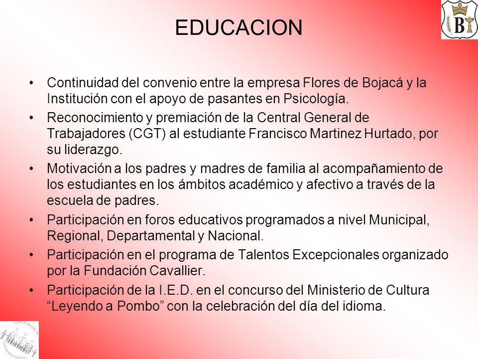 EDUCACION Continuidad del convenio entre la empresa Flores de Bojacá y la Institución con el apoyo de pasantes en Psicología. Reconocimiento y premiac