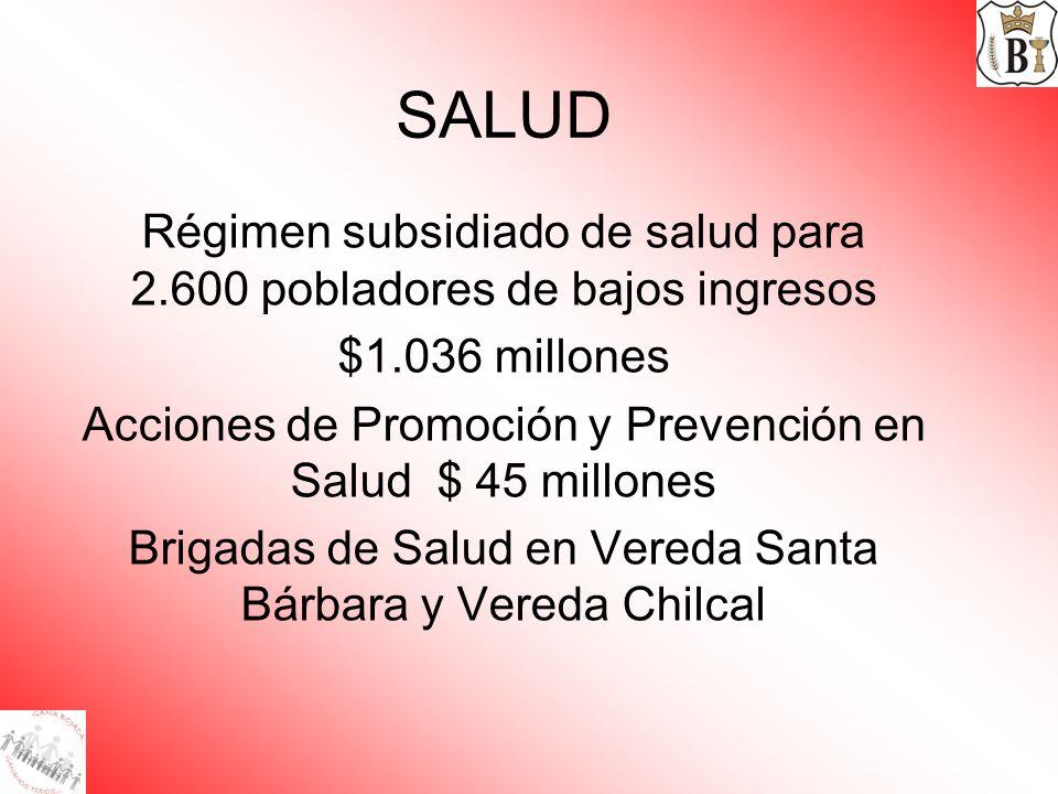 SALUD Régimen subsidiado de salud para 2.600 pobladores de bajos ingresos $1.036 millones Acciones de Promoción y Prevención en Salud $ 45 millones Br