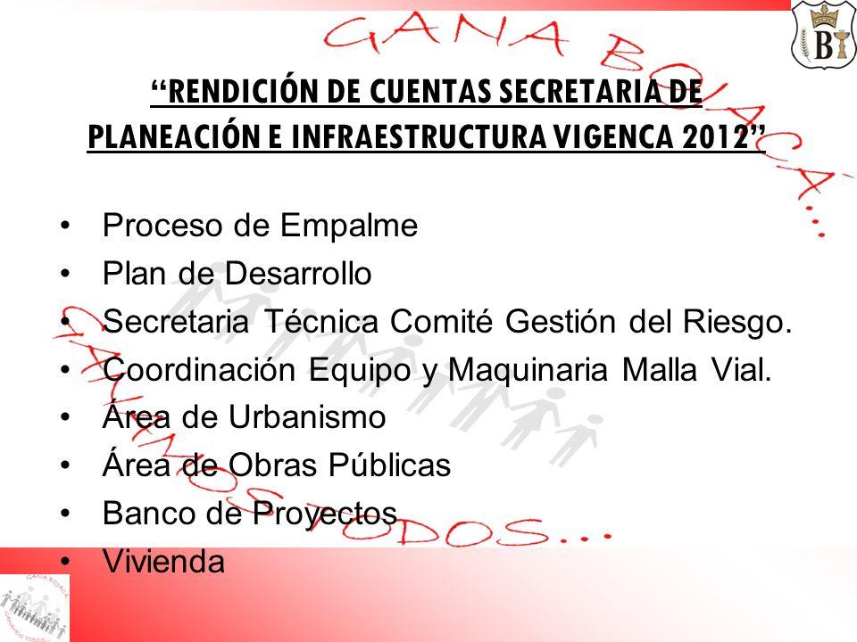 RENDICIÓN DE CUENTAS SECRETARIA DE PLANEACIÓN E INFRAESTRUCTURA VIGENCA 2012 Proceso de Empalme Plan de Desarrollo Secretaria Técnica Comité Gestión d