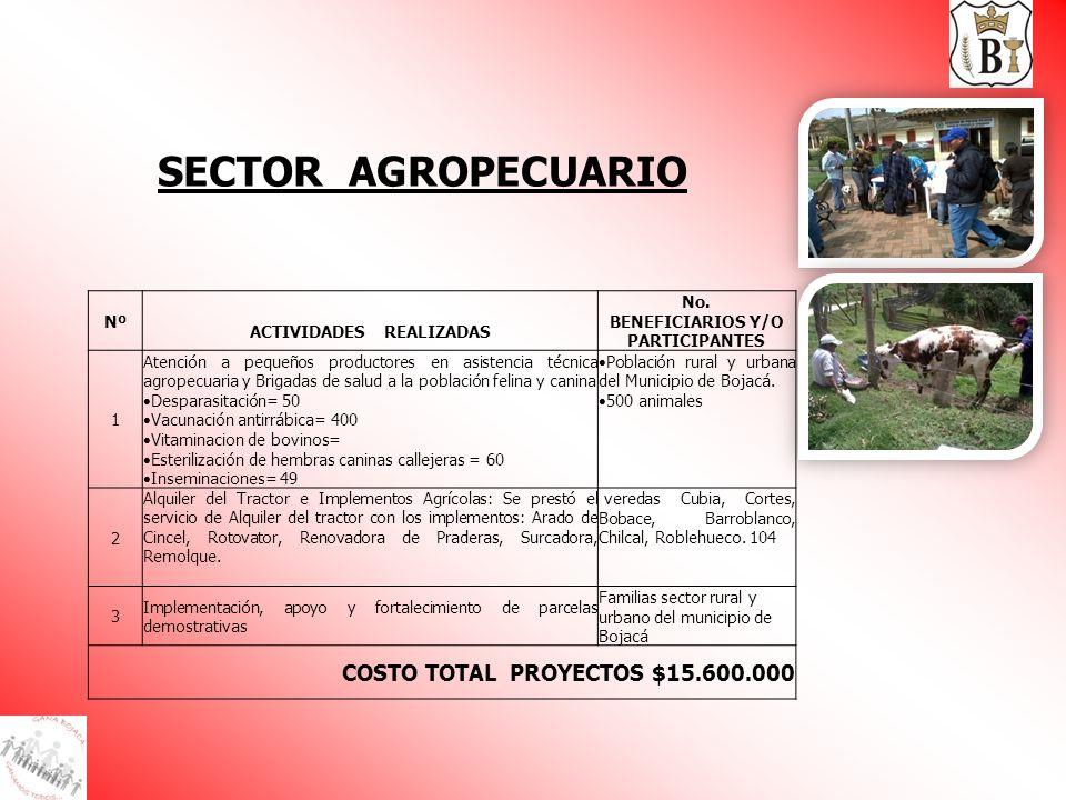 Nº ACTIVIDADES REALIZADAS No. BENEFICIARIOS Y/O PARTICIPANTES 1 Atención a pequeños productores en asistencia técnica agropecuaria y Brigadas de salud