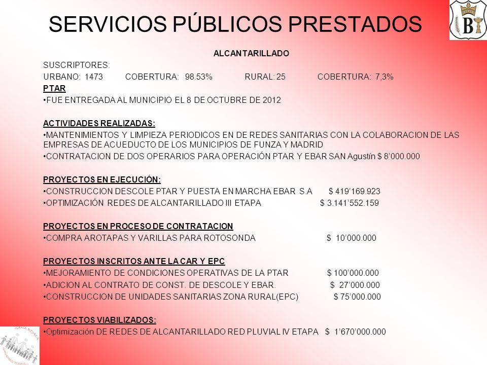SERVICIOS PÚBLICOS PRESTADOS ALCANTARILLADO SUSCRIPTORES: URBANO: 1473 COBERTURA: 98.53% RURAL: 25 COBERTURA: 7,3% PTAR FUE ENTREGADA AL MUNICIPIO EL