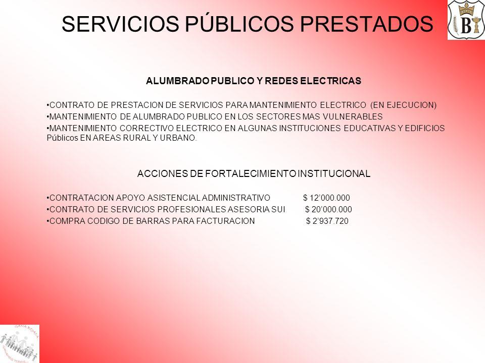 SERVICIOS PÚBLICOS PRESTADOS ALUMBRADO PUBLICO Y REDES ELECTRICAS CONTRATO DE PRESTACION DE SERVICIOS PARA MANTENIMIENTO ELECTRICO (EN EJECUCION) MANT