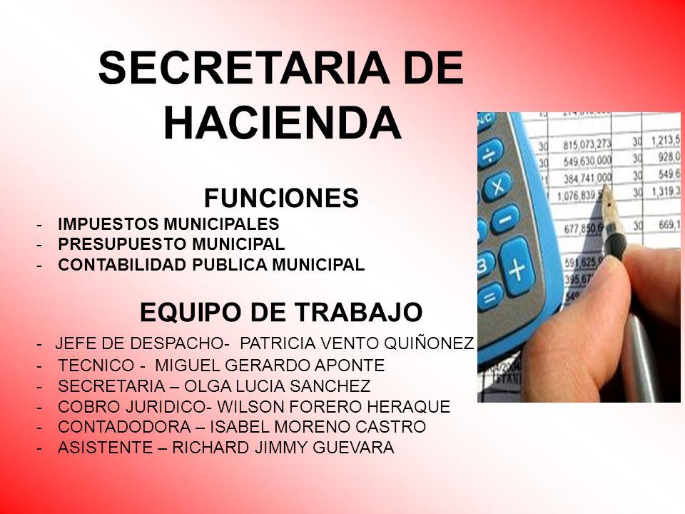 SECRETARIA DE HACIENDA FUNCIONES -IMPUESTOS MUNICIPALES -PRESUPUESTO MUNICIPAL -CONTABILIDAD PUBLICA MUNICIPAL EQUIPO DE TRABAJO - JEFE DE DESPACHO- P