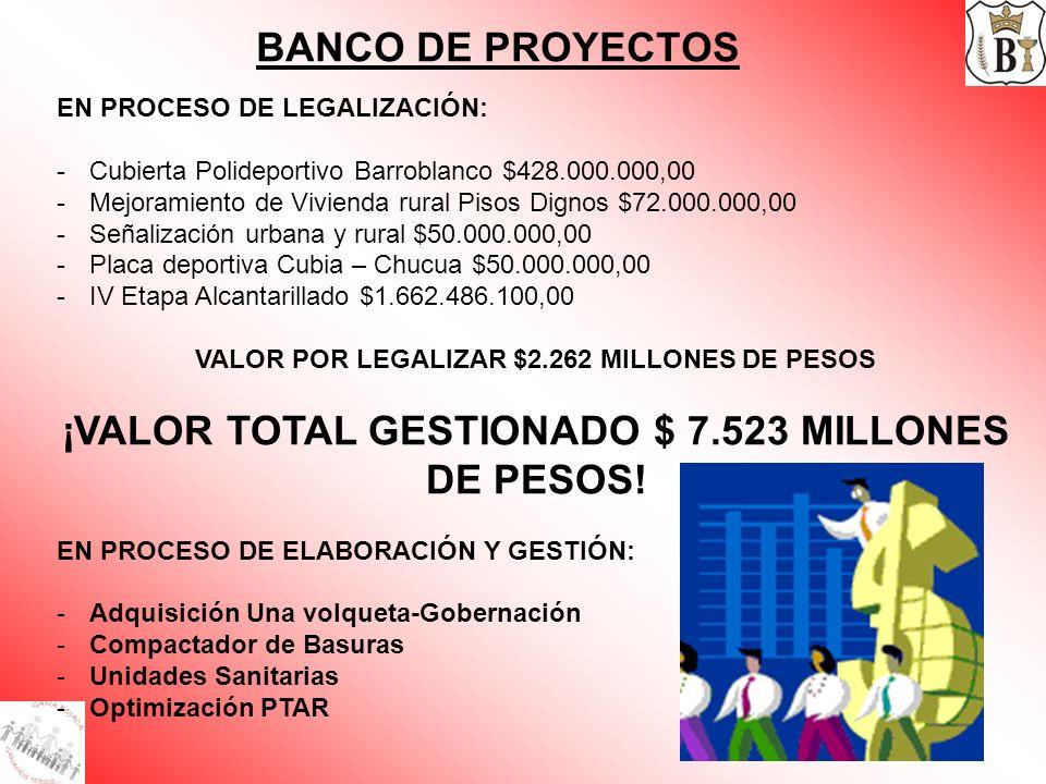 BANCO DE PROYECTOS EN PROCESO DE LEGALIZACIÓN: -Cubierta Polideportivo Barroblanco $428.000.000,00 -Mejoramiento de Vivienda rural Pisos Dignos $72.00